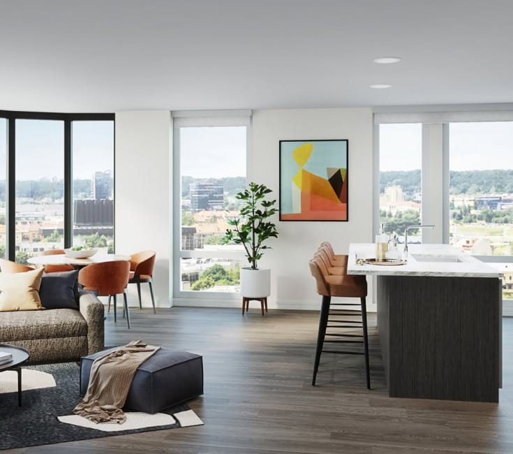Open space living area with natural lighting